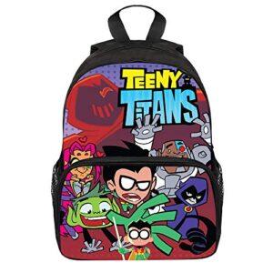 Teen Titans Go Zaini Casual Zaini Bambini Stile Selvaggio For Ragazzi E Ragazze Cartoon Sicurezza Zaino Anti Perso Strap Unisex Color A01 Size 25 X 11 X 34cm 0