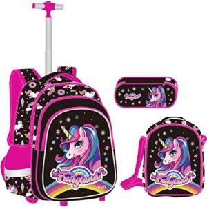 Unicorno Zaino Trolley Ragazze Set Da 3 Pezzi Zaino Ruote Scuola Elementare Borsa Trolley Con Borsa Pranzo Borsa Per Penna Ideale Per Bambini Studenti Della Classe 1 6 0