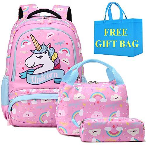 Zaino Ragazza Zaino Unicorno Bambina Zaini Scolastico Elementari Bambini Girls Backpack Set Per La Scuola Borsa Per Ragazze Zainetto 0