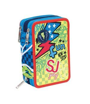 Astuccio Seven 3 Zip Sj Gang Boy Completo Azzurro Arancio Verde Fun No Stop 0