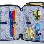 Astuccio 3 Scomparti Seven Check Blu Completo Di Matite Penne Pennarelli 0 1