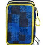 Astuccio 3 Scomparti Seven Check Blu Completo Di Matite Penne Pennarelli 0 5