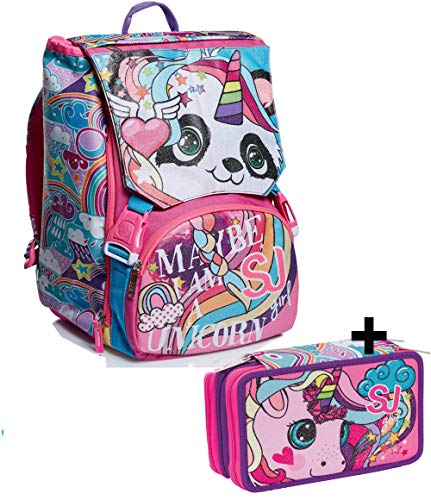 Schoolpack Animali Da Sj Girl Zaino Sdoppiabile Astuccio 3 Zip 0