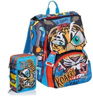 Schoolpack Zaino Scuola Seven Sj Gang Animal Boy Blu Estensibile Astuccio 3 Zip Completo 0