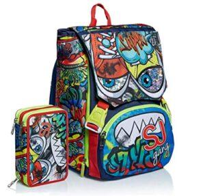Schoolpack Zaino Seven Sj Gang Facce Boy Verde Estensibile Astuccio 3 Zip 0
