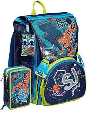 Schoolpack Zaino Seven Sj Gang Ledtech Boy Estensibile Astuccio 3 Zip Completo 0