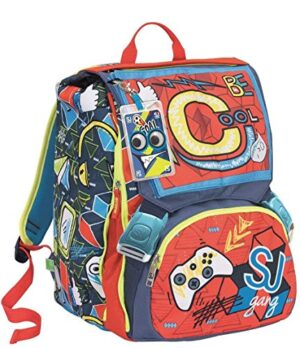 Zaino Schoolpack Seven Sdoppiabile Big Sj Gang Boy Rosso Azzurro Con Pattine Sfogliabili Astuccio 3 Zip 0