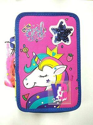 Astuccio Scuola Triplo Tre Cerniere Unicorn Young Glitter Skin Over 0