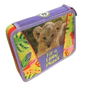 Astuccio Scuola Wwf Jungle Ragazza Bambina Maxi 2 Piani Girl Zip Completo Omaggio Penna Glitterata Omaggio Cartolina Wwf 0