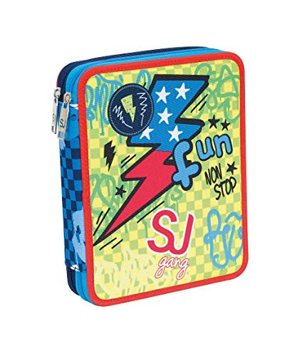 Astuccio Scuola Seven Maxi Sj Boy 2 Scomparti Blu Pennarelli Matite Gomma Ecc 0
