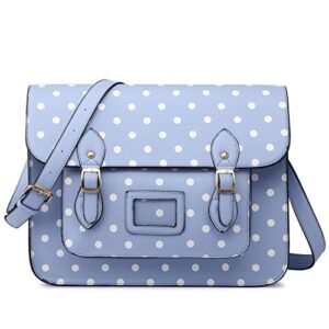Miss Lulu Borsa A Tracolla Da Donna Borsa Messenger Shopping Grande In Ecopelle Con Vintage Pois Blu 0