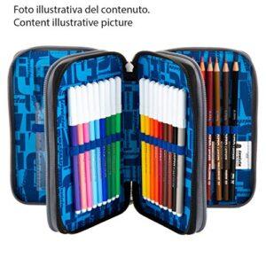 Astuccio 3 Scomparti Invicta Stripes Blu Completo Di Matite Penne Pennarelli 0 0
