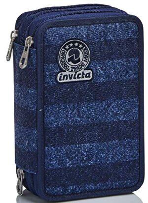 Astuccio 3 Scomparti Invicta Stripes Blu Completo Di Matite Penne Pennarelli 0