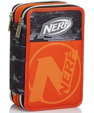 Astuccio 3 Scomparti Nerf Nation Unica Nero E Arancione Portapenne Con Contenuto Per La Scuola 0