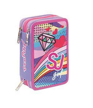 Astuccio 3 Zip Sj Gang Pastel Rainbow Pen Pad Viola 0