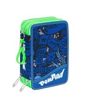 Astuccio Scuola Completo 3 Zip Seven Koi Penpad Colore Blu Verde 0