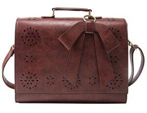 Ecosusi Borsa A Tracolla Donna Borsa Messenger Vintage Per Laptop 14 Pollici Valigetta Da Ufficio Marrone 0