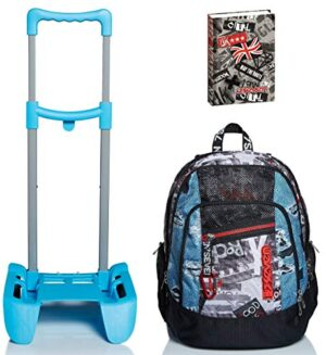 Kit Scuola Zaino Seven Advanced Trolley Carrello Porta Zaino Diario Urban Rock 0