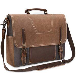 Newhey Borsa Lavoro Uomo Pelle Borsa Tracolla Uomo Messenger Bag Tela Vintage Borse Messenger Spalla Impermeabile Grande Per Laptop 156 Marrone 0