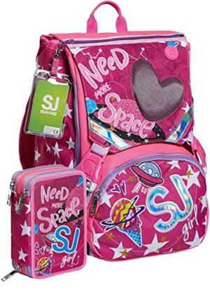 Schoolpack Zaino Seven Sj Gang Ledtech Girl Estensibile Astuccio 3 Zip Completo 0