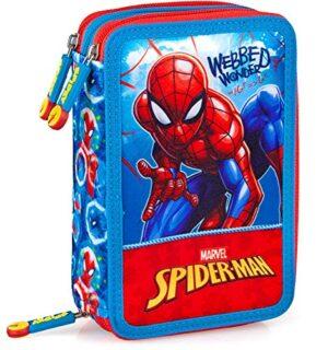 Spiderman Astuccio Scuola 3 Zip Originale Completo Di 44 Pezzi Rossoazzurro 0
