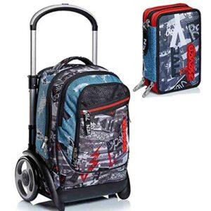 Trolley Ruote Grandi Seven Boy Tyre Urban Rock 201002016 Zaino Sganciabile Carrello Astuccio 3 Zip Pen Pad Urban Rock Rosso 301012018 0