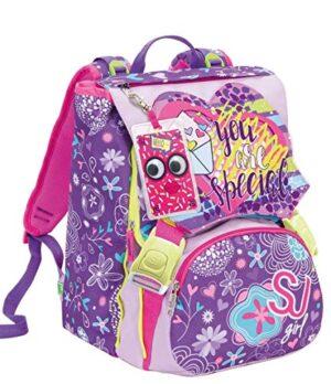 Zaino Schoolpack Seven High Tech Sj Gang Girl Viola Rosa Con Pattine Sfogliabili Astuccio Quick Case Completo 0