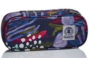 Bustina Ovale Invicta Abstract Jungle Blu Con Organizer Interno Porta Penne 0